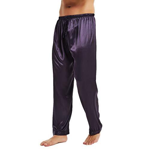Dark Purple Satin - Mens Silk Satin Sleep Bottoms Purple L