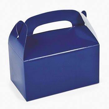 Blue Favor Boxes - Fun Express Blue Party Favor Treat Boxes - 12 Pieces