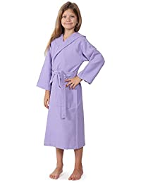 Kids Waffle Bathrobe, Hooded, 100% Cotton, Diamond Pattern, Made In Turkey, Spa Party Robe For Girls