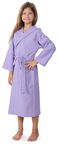 Indulge Linen Kids Waffle Bathrobe, Hooded, 100% Cotton, Diamond Pattern, Made In Turkey, Spa Party Robe For Girls (Lavender, L) (Cotton Linen Robe)