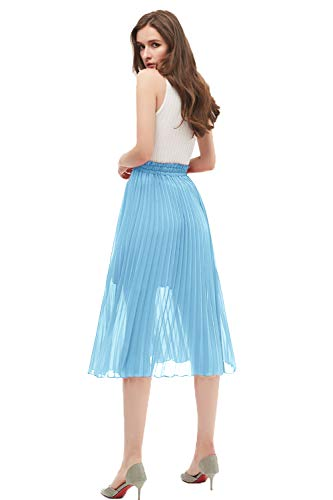 GOOBGS Women's Pleated A-Line High Waist Swing Flare Midi Skirt