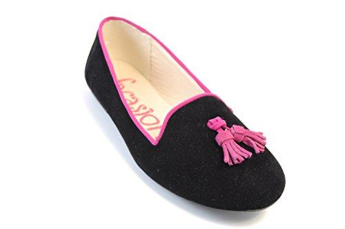 Women's Ballet Flats, Turquoise, Pink, Black, 36