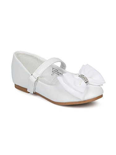 Alrisco Girls Bow Tie Mary Jane Ballerina Flat HE69 - White Leatherette (Size: Toddler 4) -