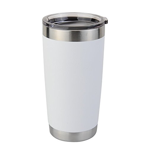 Tumblers - Custom 20oz Personalized Insulated Stainless Steel Double-Wall Vacuum Tumbler with Lid and Optional Straws (White)