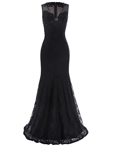 V-Neck Long Cocktail Formal Evening Dress for Women Party Size 14 (Black Wedding Dress)