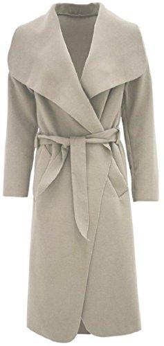 Crazy Girls Womens Ladies Celebrity Kim Kardashian Style Drape Waterfall Jacket Long Sleeve Belted Oversized Trench Coat UK 8-14 Beige