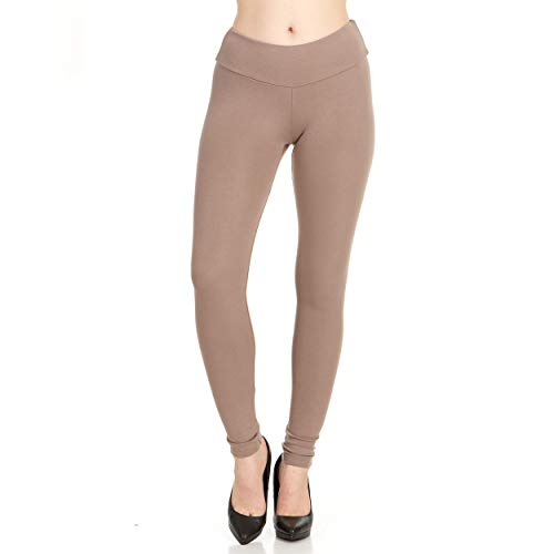 X America Womens High Waisted Fashion Leggings, Super Soft Ponte, Junior & Plus Mocha