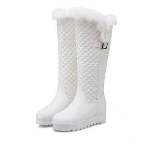 Large de prueba QPYC inferior Women botas Las white Flat señoras Taiwán Boots agua espesor a Knight de Boots de Round nieve Head Heel Size Warm Keep Locomotive Boots a7qawxrC1