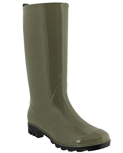 Capelli New York Ladies Shiny Solid Opaque Jelly Rain Boot Olive IDcrdsDKAW