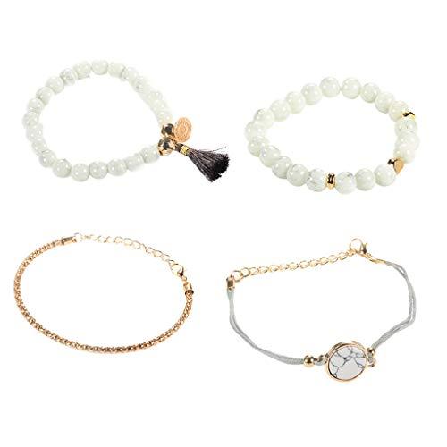 (XBKPLO Bracelet Set for Women Simple Carving Boho Marble Layering Fine Wrist Chain Bracelet Ladies 4PC DIY Wild Jwelry)