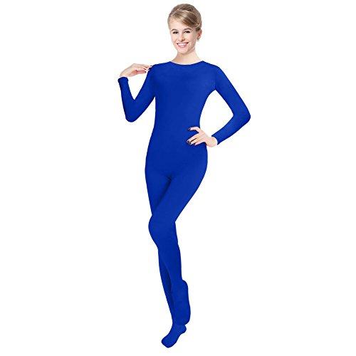 Blue Unitard Costume (Unisex Lycra Spandex Unitard Round Neck Long Sleeves Full Foot Elastane Bodysuit (XXL(6'-6'4/176-198LB), Royal Blue))