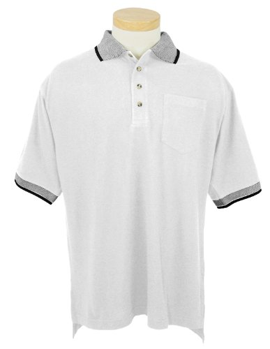 Tri-mountain Mens cotton pique pocketed golf shirt with jacquard trim. 197 - WHITE / BLACK_2XLT