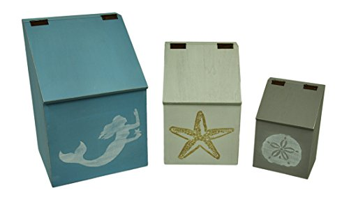Wood Canisters 3 Piece Wood Sea Symbols Coastal Canister Set W/Hinged Lids 11 X 16.5 X 9.75 Inches Multicolored Model # 39672 by Zeckos
