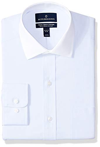 BUTTONED DOWN Men's Classic Fit Stretch Poplin Non-Iron Dress Shirt, Light Blue/White Collar, 18