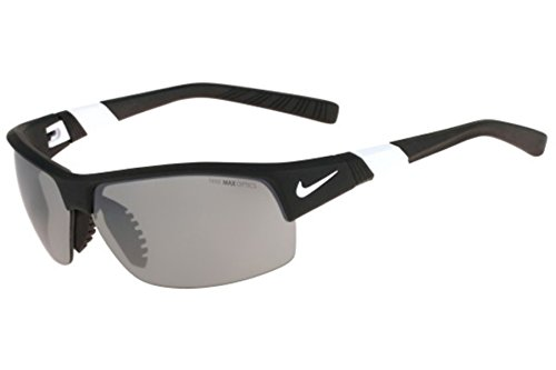 Nike Golf Show X2 Sunglasses, Matte Black/White Frame, Grey with Silver Flash/Outdoor Tint - Show Nike X2 Sunglasses