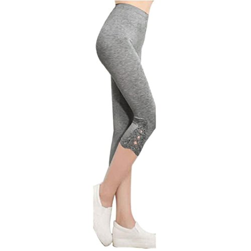 Clearance! Solid Lace Skinny Trimmed Leggings Calf-Length Pants (Gray, Free)