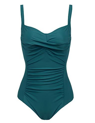 Joyaria Womens Twist Front Ruched One Piece Swimsuit Tummy Control Slimming Bathing Suit Retro Vintage Swimwear (Green,XXL)
