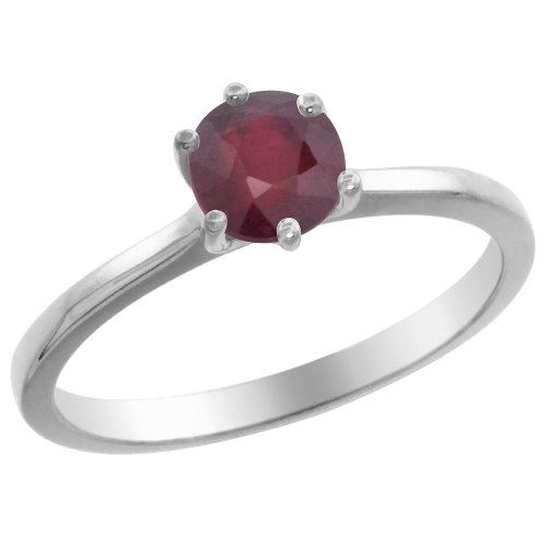 Genuine Round Ruby Solitaire Ring - 14K White Gold Natural Enhanced Genuine Ruby Solitaire Ring Round 6mm, size 10