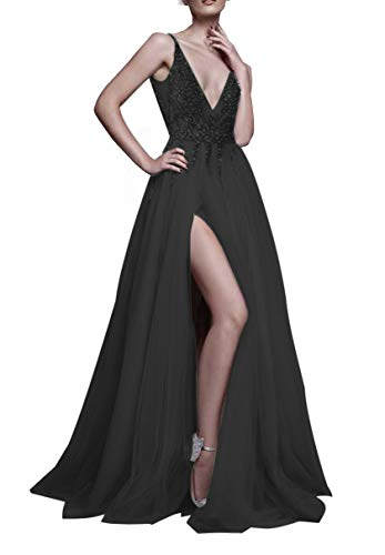 Glamorous Sexy Evening Dresses 2019 Deep V-Neck A-Line Beaded Bodice Tulle Prom Dresses Long Vestido de Fiesta HFY170503-Black-US6