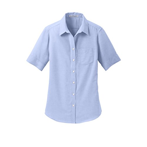 Port Authority womens Short Sleeve SuperPro Oxford Shirt, Oxford Blue, Large ()