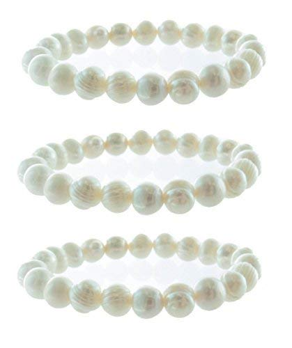 Freshwater Pearl Beads Stretch Bracelet Set of 3 by Frogsac ()