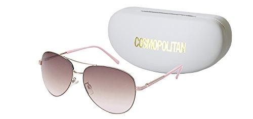 (Cosmopolitan Sunglasses Women's Jennifer Aviator Lens Style, Pastel Pink, 60)