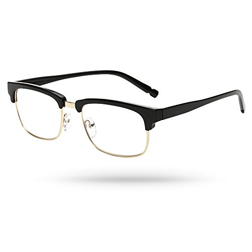 Designer Clubmaster Optics Gold-filled Low Rim Unisex Reading Eyeglasses in Black - Mall Stores In Dartmouth