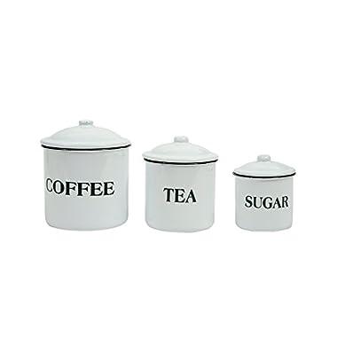 Creative Co-op Coffee Tea Sugar Enamel Metal Containers with Lids Set, Multicolor