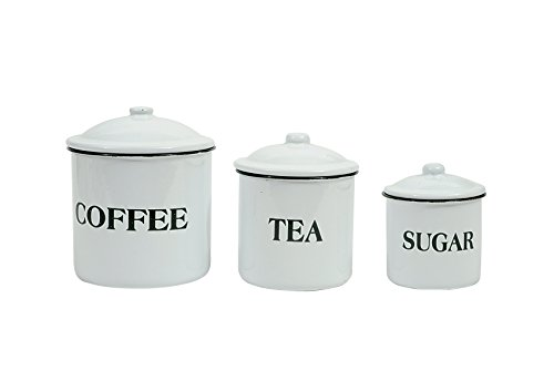 Creative Co-Op DA1985 Set of 3 Metal Containers with Lids,\