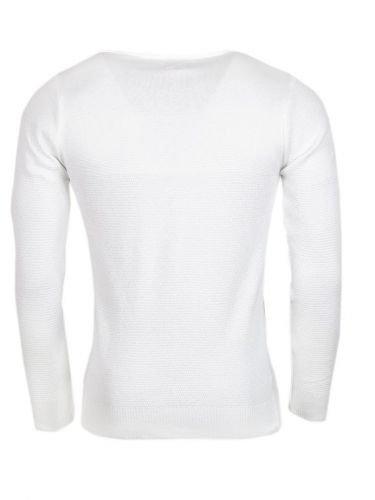 Pullover - Brust in anderem Strickmuster - weiß