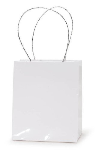 Darice 2-1/2-Inch by 3-Inch White Favor Paper Bags With Handle, 12-Piece