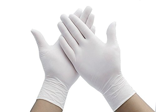 (Elandy 100PCS White Powder-Free Nitrile Exam Gloves Disposable Medical Food Safe Gloves Finger Tip Textured Ambidextrous For Cooking Cleaning Kitchen Food Handling Gloves Lab Industry (Medium))