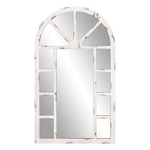 Patton Wall Decor 24x40 Distressed White Arch Windowpane Wall Mounted Mirrors (Window Distressed Pane)