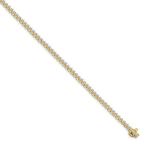 Mia Diamonds 14k Yellow Gold diamond tennis bracelet (14k Yellow Gold Mens Mounting)