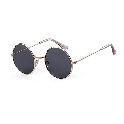 1561285bd64 Round Retro Sunglasses Men Women Steampunk Style Circle Sun Glasses (Gold  Frame Grey Lens