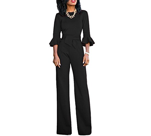 Belted Suit (VERTTEE Falbala Lace-Up Wide Loose Long Wide Legs Women's Jumpsuits High Waist Belted Club Cocktail Party Woman Jumpsuit Romper Pants Black M)