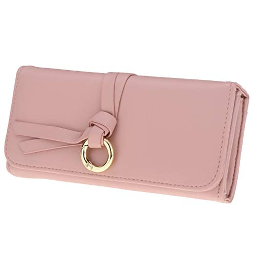 Womens Retro PU Leather Wallet Bifold Money Credit Card ID Holder Slim Purse (Color - Pink)