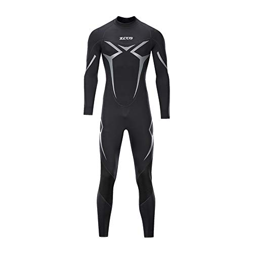 ZCCO Wetsuits Men's 3mm Premium Neoprene Full Sleeve Dive Skin for Spearfishing,Snorkeling, Surfing,Canoeing,Scuba Diving Wet Suits (Black, XS) ()