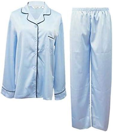 夫婦 合成シルク パジャマ 前開き レディース メンズ 涼しい 長袖 セット ペア カップル お揃い 無地