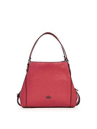 COACH Women's Pebbled Leather Edie 31 Shoulder Bag Dk/Washed Red One Size