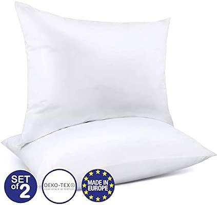 Juego de 2 Almohadas Ajustables (50 x 75 cm), Sin Productos Químicos (OEKO-TEX) con Bolsa de Almacenamiento y Cremallera - 2 x Almohada Cervical ...