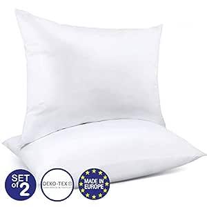Juego de 2 Almohadas Ajustables (50 x 70 cm), Sin Productos Químicos (OEKO-TEX) con Bolsa de Almacenamiento y Cremallera - 2 x Almohada Cervical ...