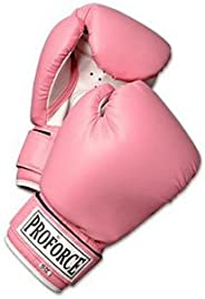 ProForce Leatherette Boxing Gloves with White Palm - Pink - 10 oz.