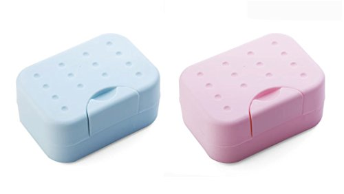 Cindy&Will 2Pcs Convenient Travel Used No Water Leaking Body/Face/Washing/Laundry/Hand Soap Covered Rectangular Plastic Dish/Holder/Rack/Box/Organizer/Saver with Water-absorbing Sponge, Blue&Pink (Plastic Travel Soap Dish)