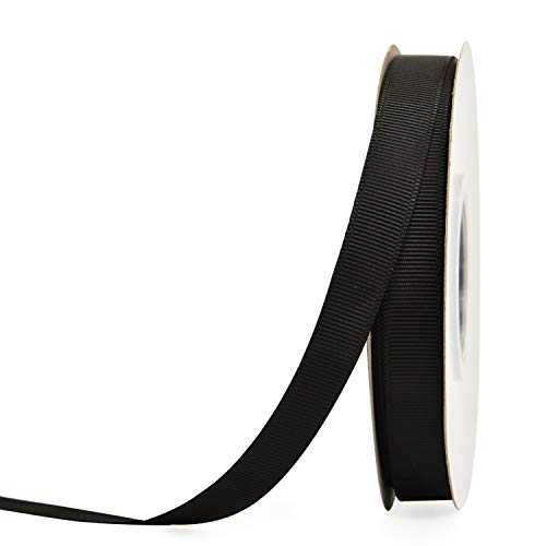 YAMA 1/2 inch Solid Grosgrain Ribbon Roll - 25 Yards for Gift Wrapping Ribbons, Black Black 25 Yd Roll