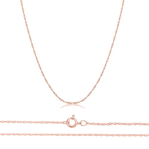 - Orostar Solid 10K Yellow, White, Rose Gold 0.8mm Thin Rope Chain 16