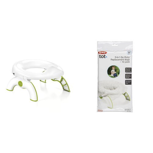 OXO Tot 2-in-1 Go Potty for Travel in Green and Go Potty Refill Bags, 10 Count