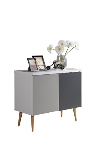 Hodedah HI690 Credenza Entry Way Accent Table, White-Grey by Hodedah (Image #5)