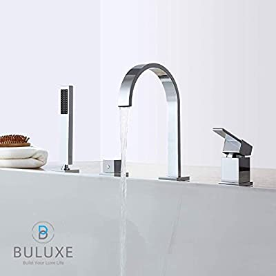 Roman Bathtub Faucet with Hand Shower BULUXE Double Handle 4-Hole Widespread Tub Faucet Modern Style in Polished Chrome Gooseneck Solid Brass