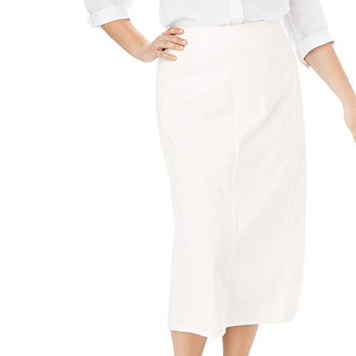 - Woman Within Women's Plus Size Smooth Waist A-Line Denim Skirt - White, 20 W